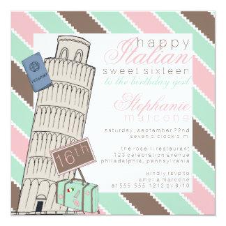 Italiaanse het Leunen Spumoni Zoete Verjaardag 16 13,3x13,3 Vierkante Uitnodiging Kaart