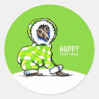 Italiaanse Moderne Groen van Kerstmis van Snowsuit Ronde Stickers