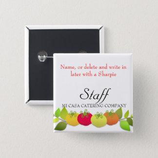 Italiaanse tomaten die de naamkenteken koken van vierkante button 5,1 cm