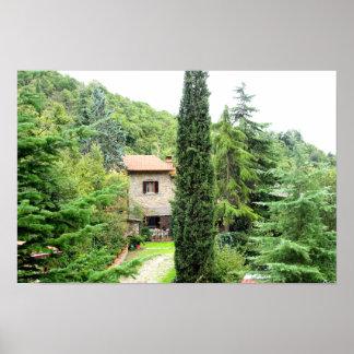 Italiaanse Toscaanse rustieke boerderij. Toscanië Poster