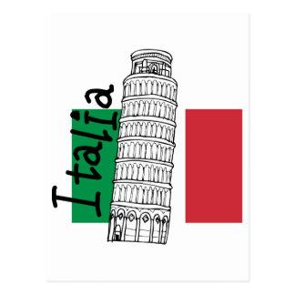 Italiaanse Vlag en Leunende Toren van Pisa Briefkaart