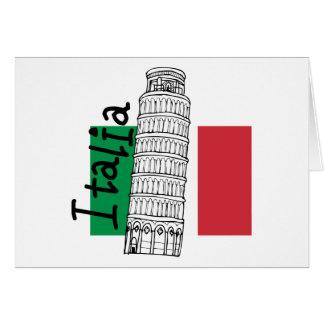 Italiaanse Vlag en Leunende Toren van Pisa Kaart