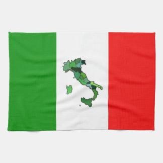 Italiaanse Vlag met Kaart van Italië Theedoek