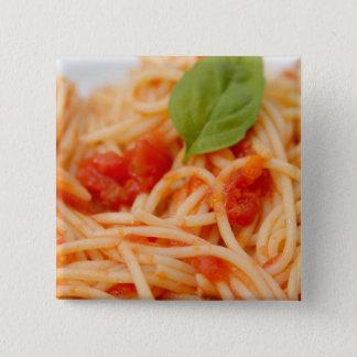 Italië, Orta, Meer Orta, spaghetti met tomaat Vierkante Button 5,1 Cm
