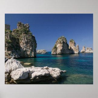 Italië, Sicilië, Scopello, Rotsen door Tonnara Poster