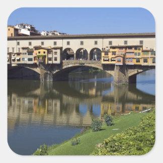 Italië, Toscanië, Florence, Ponte Vecchio 2 Vierkante Sticker