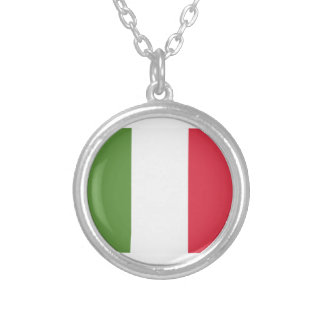 Italy Flag Emoji Twitter Zilver Vergulden Ketting