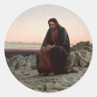 Ivan Kramskoy- Christus in de Wildernis - Fijn Ronde Sticker
