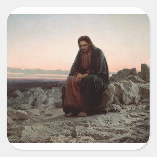 Ivan Kramskoy- Christus in de Wildernis - Fijn Vierkante Sticker