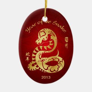 Jaar van de Slang 2013 - Chinees Nieuwjaar Keramisch Ovaal Ornament