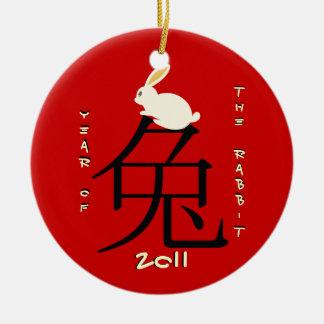 Jaar van het konijn Chinese Nieuwjaar 2011 Rond Keramisch Ornament