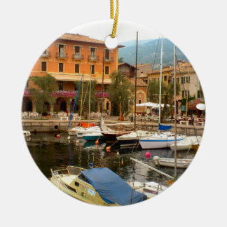 Jachthaven in Menaggio, Meer Como Rond Keramisch Ornament