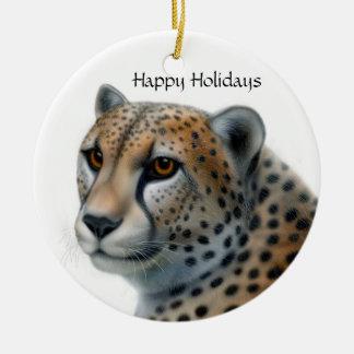 Jachtluipaard, Gelukkig Vakantie Rond Keramisch Ornament