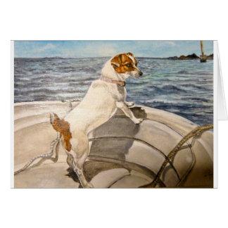 Jack Russell Terrier op boot Kaart