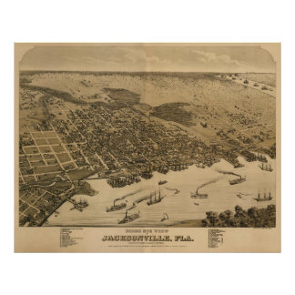 Jacksonville, de Kaart van FL Birdseye, Circe 1874 Poster