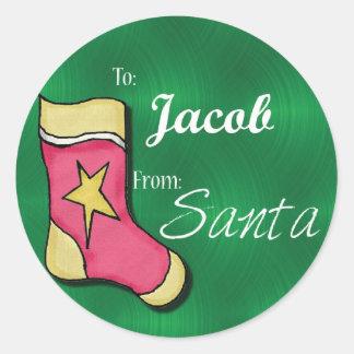 Jacob Gepersonaliseerde Kerstmis Label62 Ronde Sticker