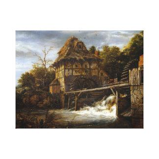 Jacob van Ruisdael Twee Undershot Watermills Canvas Afdrukken