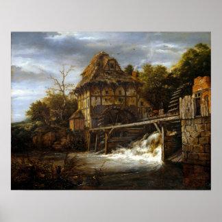 Jacob van Ruisdael Twee Undershot Watermills Poster
