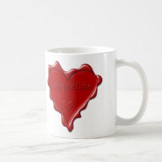Jacqueline. De rode verbinding van de hartwas met Koffiemok