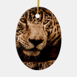 jaguar water het besluipen ogen keramisch ovaal ornament