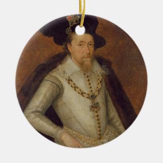 James I van Engeland, en VI van Schotland Rond Keramisch Ornament