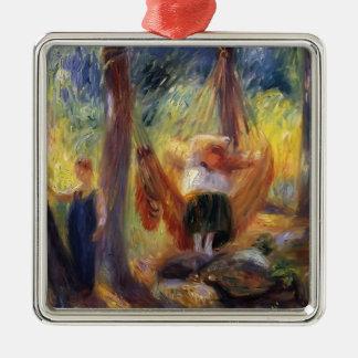 James Tissot: De hangmat Zilverkleurig Vierkant Ornament