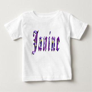 Janine, Naam, Logo, de Witte T-shirt van de