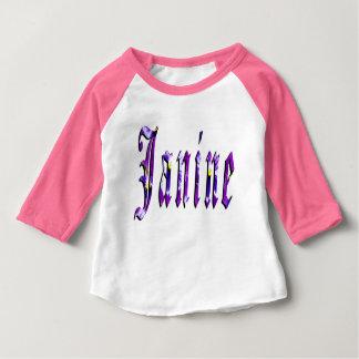 Janine, Naam, Logo, Roze Raglan van de Meisjes van Baby T Shirts