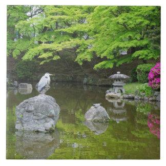 Japan, Kyoto. Reiger in verse groene bladeren Tegeltje