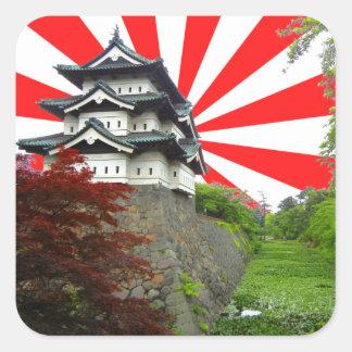 Japans Kasteel Vierkante Stickers
