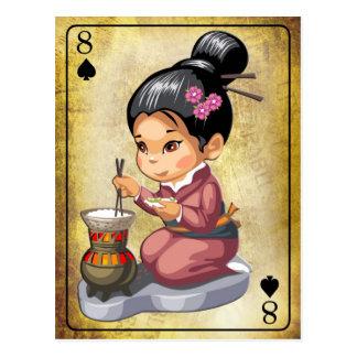 Japans meisje in kimono kokende rijst briefkaart