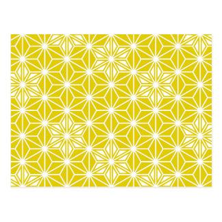Japans patroon Asanoha - mosterdgoud en wit Briefkaart