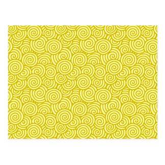 Japans wervelingspatroon - mosterd en lichtgeel briefkaart