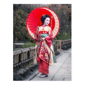 Japanse Geisha in Kyoto Briefkaart