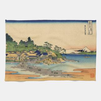 Japanse Houtsnede: Enoshima in Provincie Sagami Theedoek