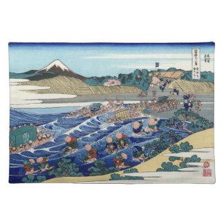 Japanse Houtsnede: Fuj van Kanaya op Tokaido Placemat