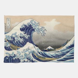 Japanse Houtsnede: Grote Golf van Kanagawa Theedoek