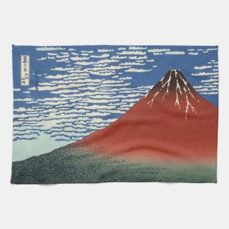Japanse Houtsnede: Rode Zuidelijke Wind Fuji Theedoek