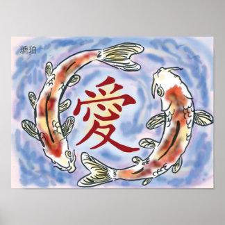 Japanse Koi (Liefde) Poster