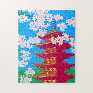 Japanse tempel met kersenbloesem legpuzzel