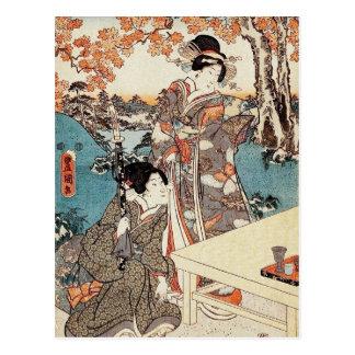 Japanse vintage ukiyo-e geisha oude rol briefkaart