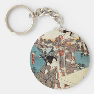 Japanse vintage ukiyo-e geisha oude rol sleutelhanger