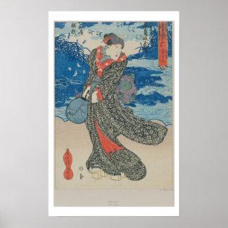 Japanse vrouw door het zee (de druk van de kleuren poster