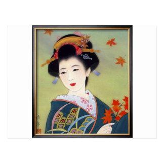 Japanse vrouw in blauwe kimono briefkaart