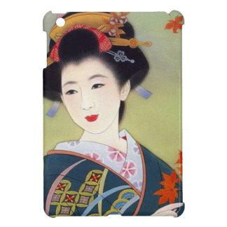 Japanse vrouw in blauwe kimono hoesjes voor iPad mini