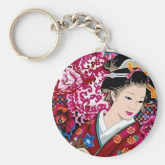 Japanse Vrouw in Kimono Sleutelhanger