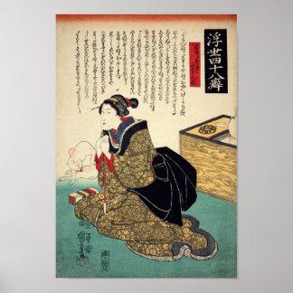 Japanse vrouw met Kat, Utagawa Kuniyoshi Poster