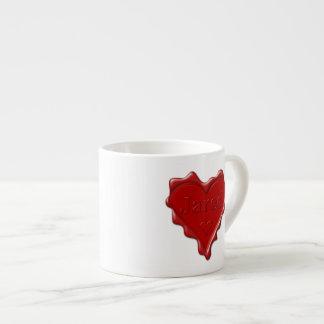 Jared. De rode verbinding van de hartwas met naam Espresso Kop