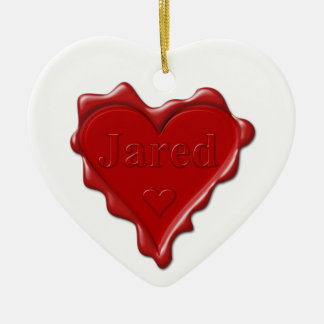 Jared. De rode verbinding van de hartwas met naam Keramisch Hart Ornament