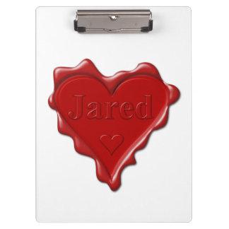 Jared. De rode verbinding van de hartwas met naam Klembord